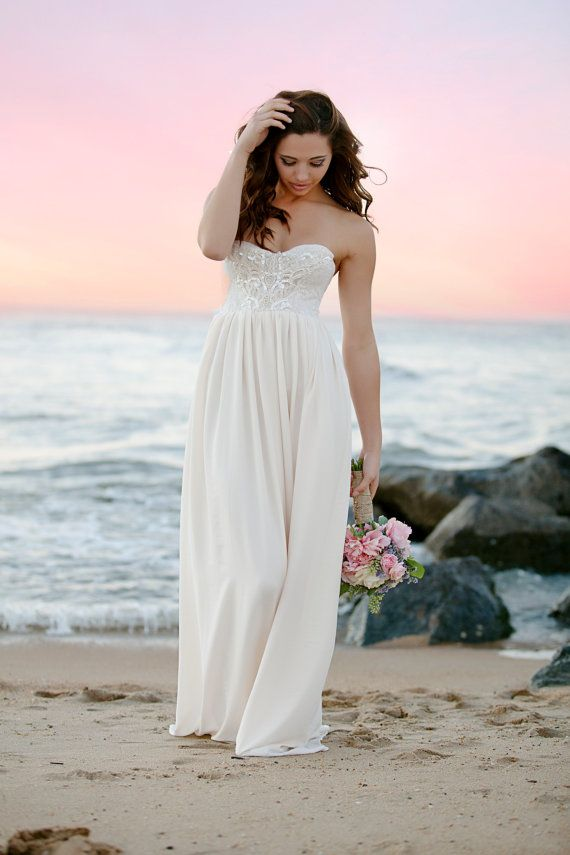 Bohemian Wedding Gown Beaded Sequin Long Strapless By Whiteromance