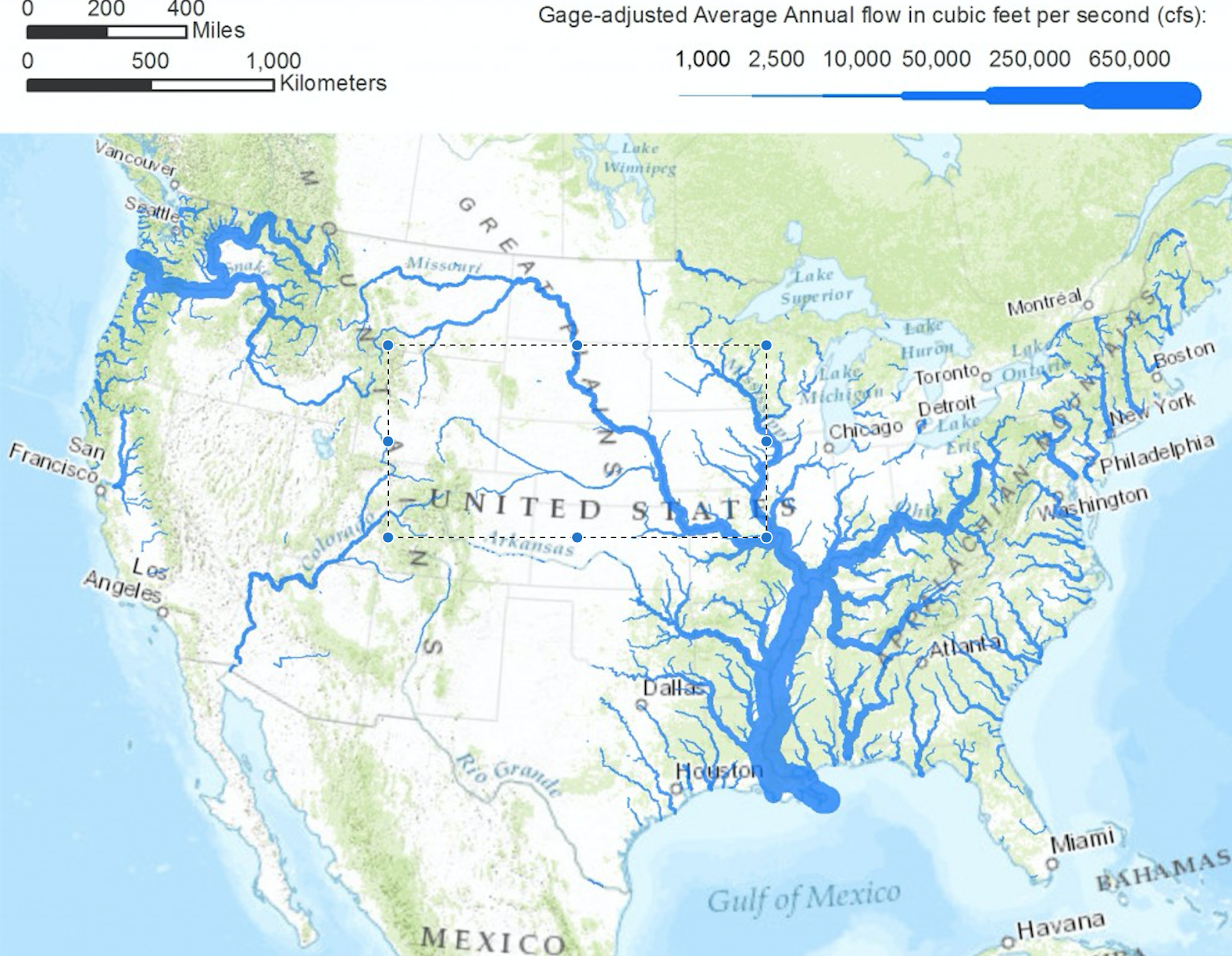 United States Rivers Drawn To Show Average Annual Flow United - United states geography map