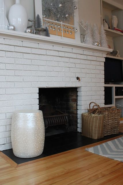 Painted fireplace hearth tile remove bricks and put down for Floor hearth