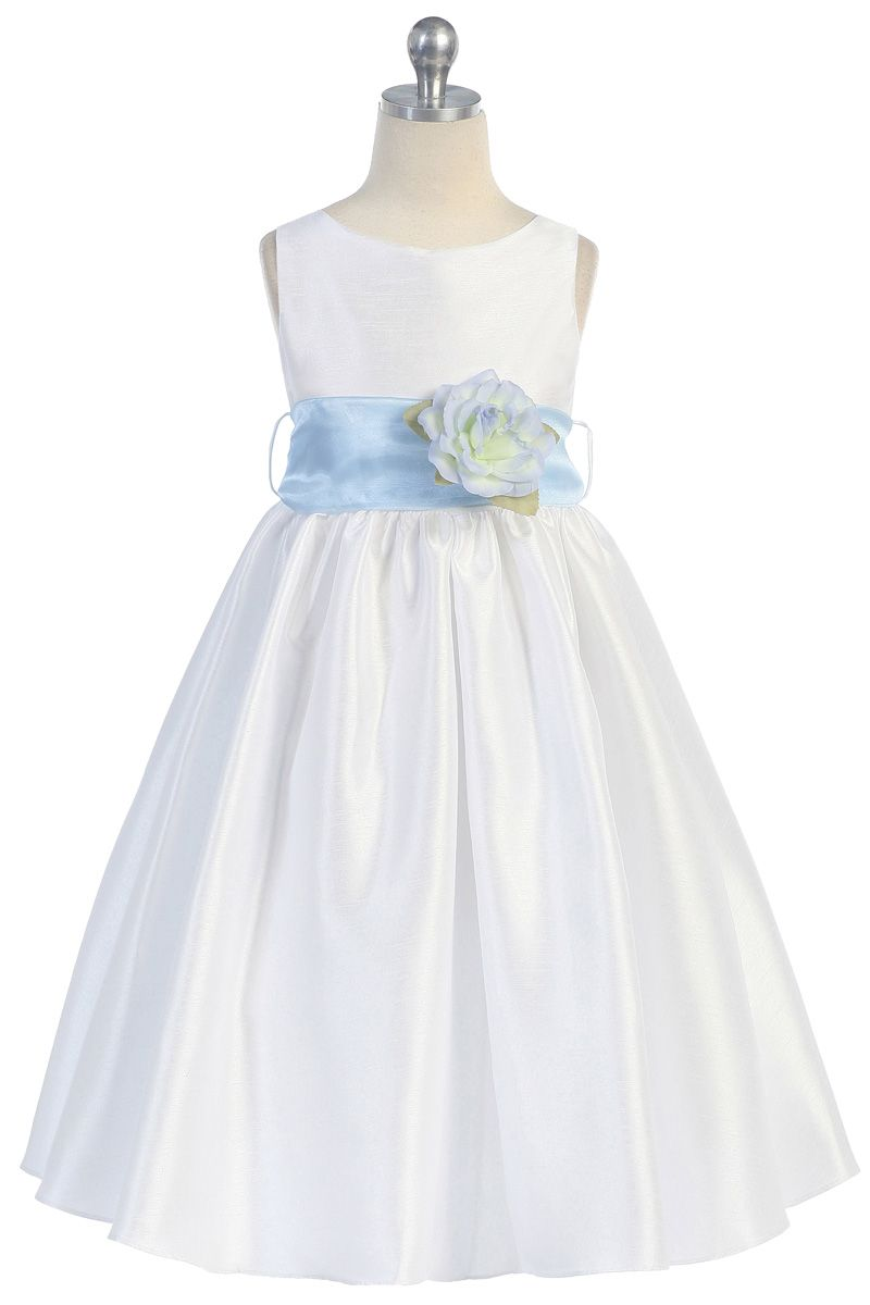 db693bf9e2e9 Baby Blue Flowers and Sash Flower Girl Dress K204-BU $49.95 on  www.GirlsDressLine.Com