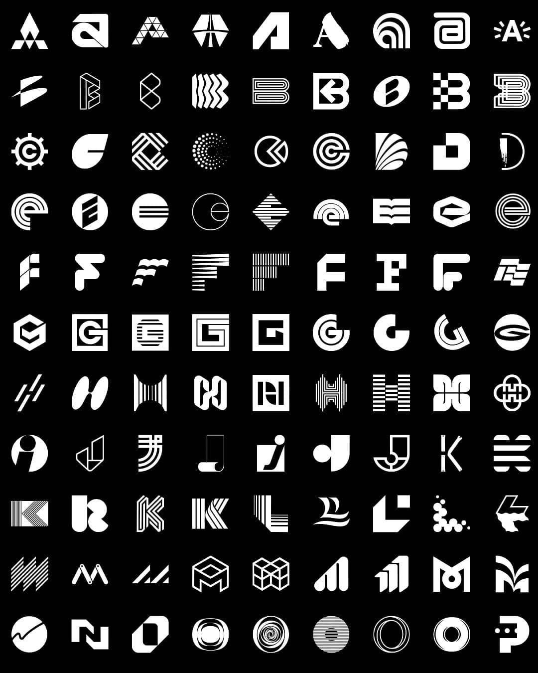 A Small Selection Of The 306 Letter Logos From The Book Letters
