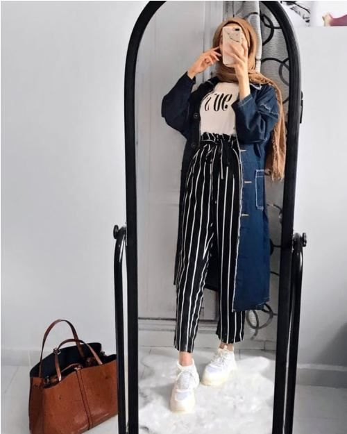 How to wear striped pants with hijab   Just Trendy Girls