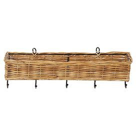"Eco-friendly rattan wall basket with five hanging hooks.  Product: Wall basketConstruction Material: Rattan and metalColor: NaturalFeatures:  CompostibleEco-friendly Dimensions: 4"" H x 24"" W x 7"" D"