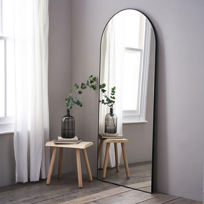 Decorative Silver Metal Narrow Slim Hall Bedroom Full Length Wall Mirror Mirrors
