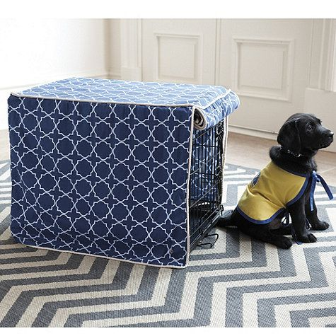 Ballard Designs' stylish Trellis Pet Crate Cover makes that cold wire crate cozier for your pet and a lot nicer for you, too.