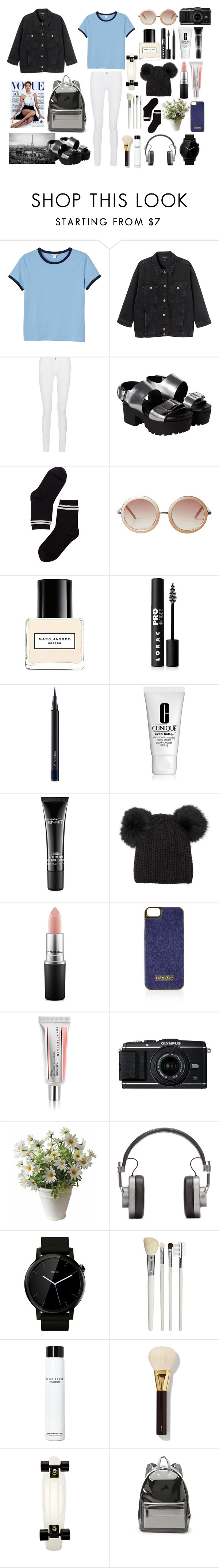 """Geen titel #69"" by naomilensen ❤ liked on Polyvore featuring moda, Monki, Frame Denim, Marc Jacobs, LORAC, MAC Cosmetics, Clinique, Eugenia Kim, Topshop e Chantecaille"