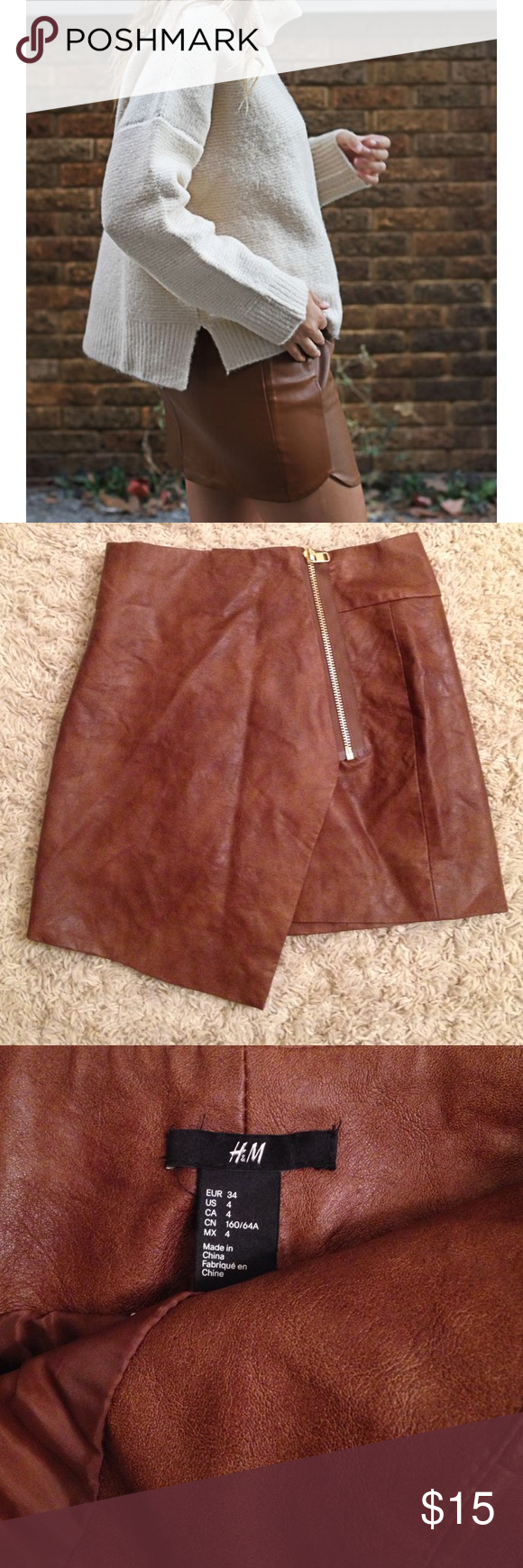 Brown faux leather mini skirt Great condition, stylish skirt great for autumn, current trend. H&M Skirts Mini