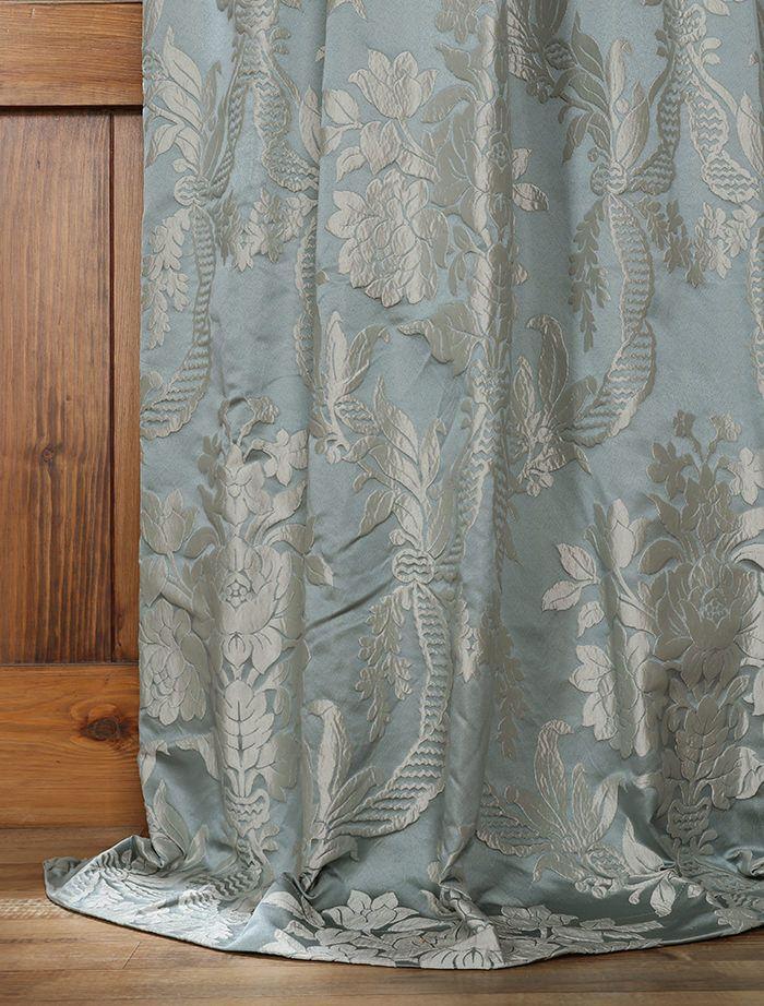 Magdelena Steel Blue Silver Designer Damask Curtain Curtains Silver Curtains Damask Curtains