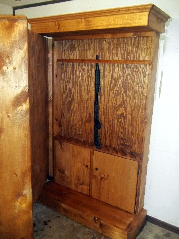 Hidden Gun Storage Bookshelf Cabinet By RoughCountryRustic 45000