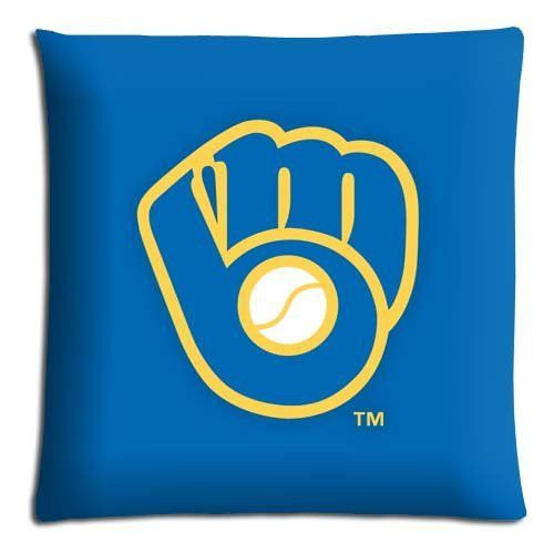 """home pillow cases protector [ Cotton - Polyester ] Fabric Silky soft 20x30 20""""x30"""" 50x76cm Milwaukee Brewers MLB baseball logo"""