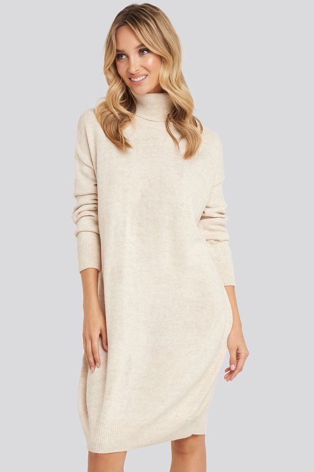 Photo of Turtleneck Knitted Dress Beige
