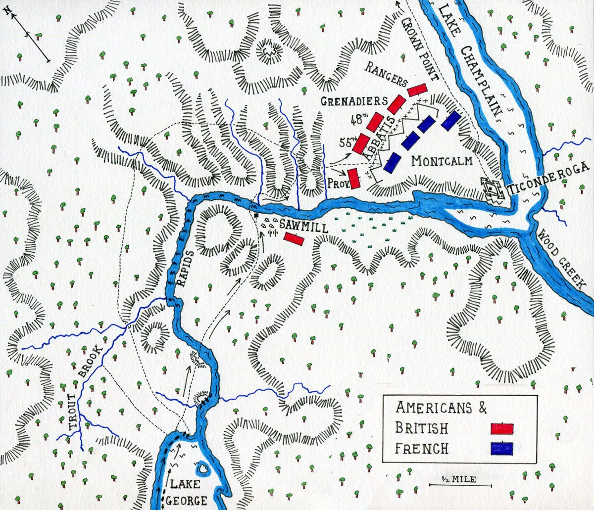 Map Of The Battle Of Ticonderoga On 8th July In The