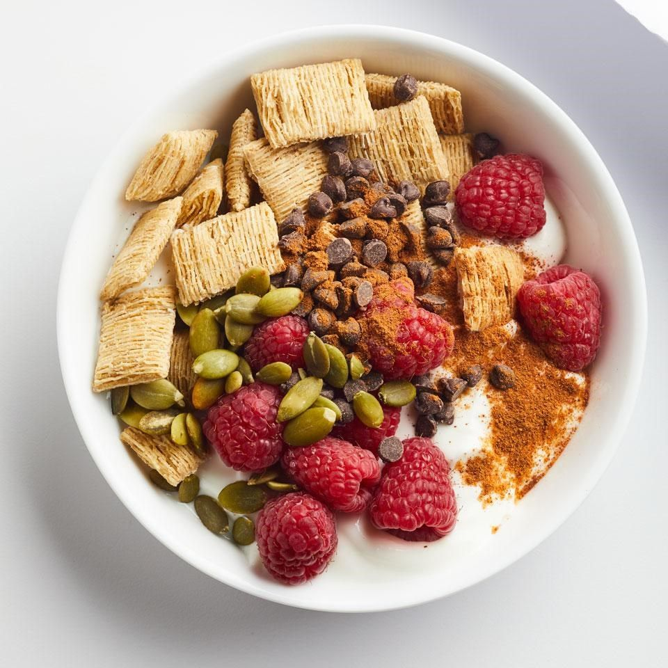 Raspberry yogurt cereal bowl recipe breakfast snacks cereal and for breakfast snack or a healthy dessert try using yogurt instead of milk for ccuart Images