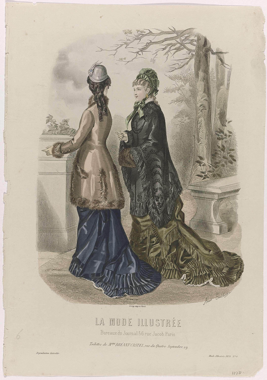 Anonymous | La Mode Illustrée, 1878, No. 6 : Toilettes de Mme Breant-Castel..., Anonymous, Leroy, 1878 | Twee vrouwen, van wie één op de rug gezien, wandelen buiten. De linker vrouw draagt een bruine jas gegarneerd met bont op een donkerblauwe rok met sleep. De vrouw rechts draagt een zwarte mantel op een mosgroene rok met sleep. Zij heeft de handen in een mof van bont. Beiden dragen een hoed. Volgens het onderschrift zijn de japonnen van Bréant-Castel. Prent uit het modetijdschrift La Mode…