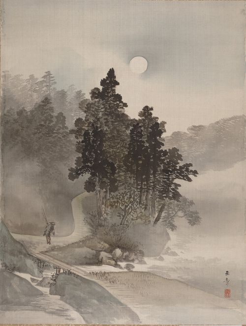 Kawabata Gyokushô (Japanese, 1842–1913), Traveling by Moonlight, 19th century, Album leaf; ink and light color on silk