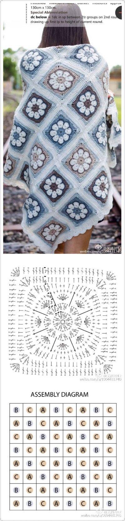 Crochet Granny square Project 2 More | crochet | Pinterest | Manta ...