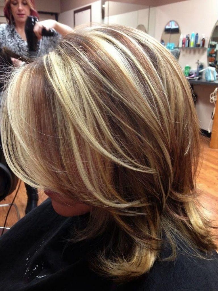 dark hair chunky blonde highlights red hair with chunky