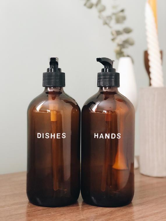 Glass Kitchen Soap Dispenser Set 16oz Hand And Dish Soap Etsy Kitchen Soap Dispenser Kitchen Soap Amber Glass Bottles