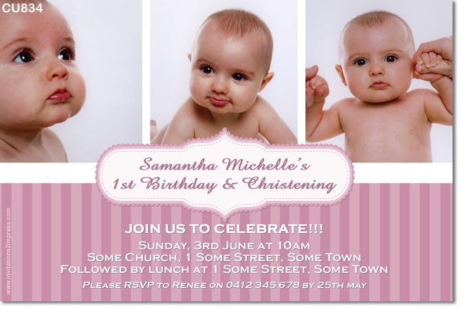 Girls Birthday and Christening Invitation Places to Visit - sample baptismal invitation for twins