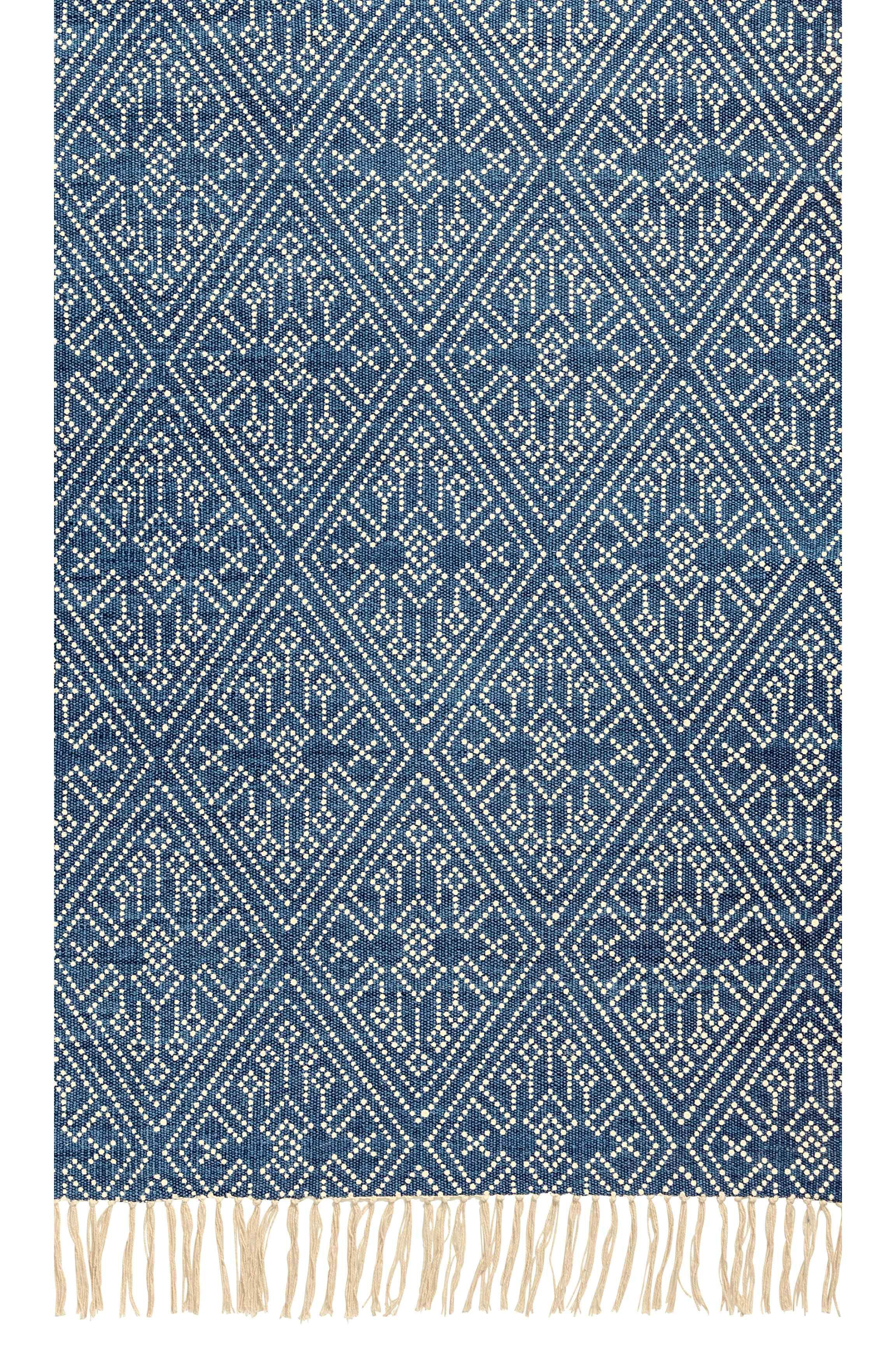 Patterned Cotton Rug Blue Natural White Home All H M Dnevna