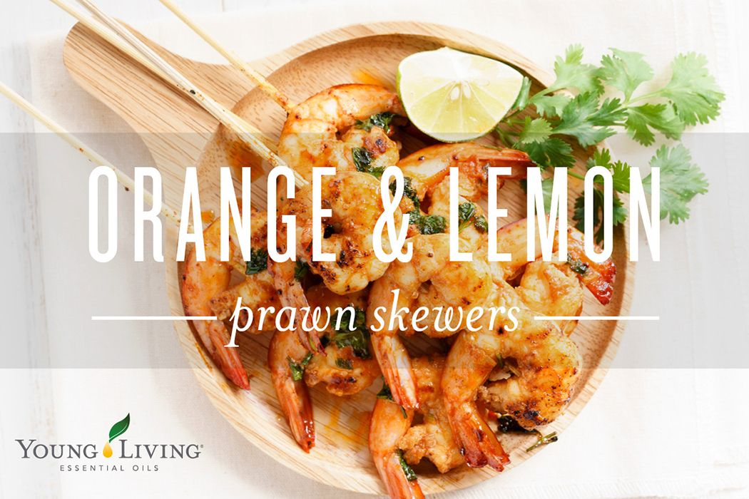 Create your own essential oil infused orange & lemon prawns skewers! This recipes offers the perfect combination of flavours, bursting with freshness and citrus juiciness! #YLPlusRecipes Ingredients: - 4 drops of YL Lemon+ and Orange+ Oil, 3 tbsp olive oil, 1 tbsp Dijon mustard, 3-4 cloves of garlic, 30-40 medium sized king prawns, 10 skewers, Juice of a lime, Coriander to garnish.