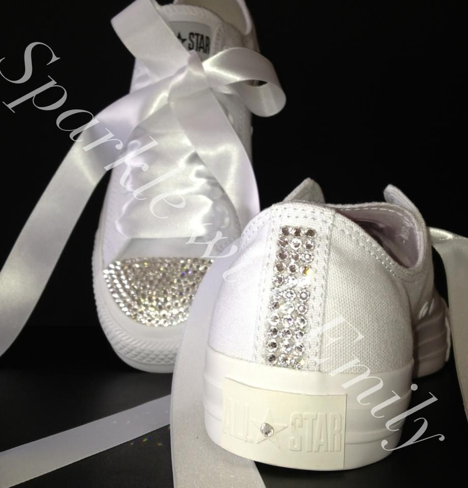 fc1ff4b115c8 All White Canvas Low Converse with Clear Swarovski Toe Caps ...