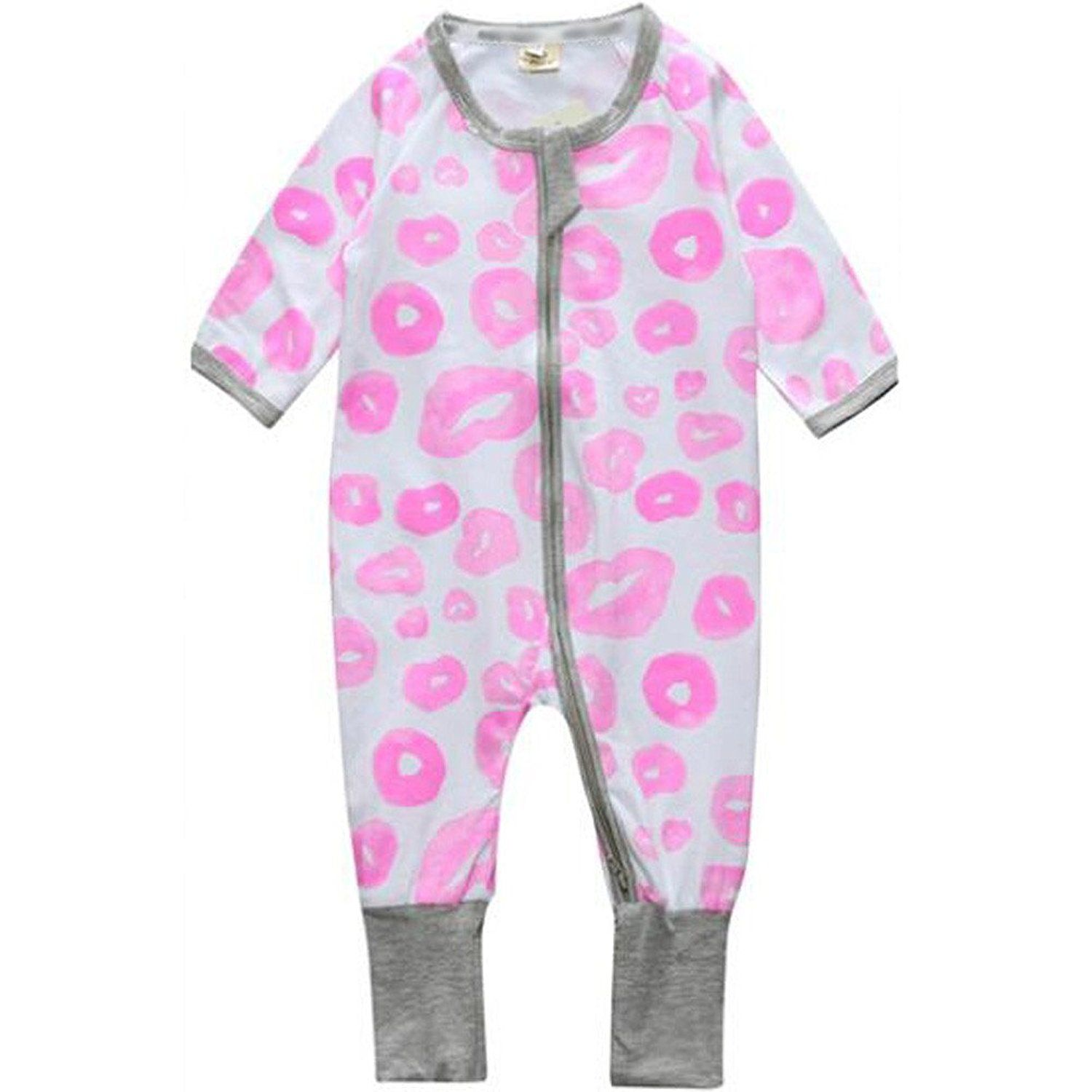 fe6cf6f92 Unisex Baby Girl Boys One Piece Zipper Jumpsuit Snug Fit Cotton Footless  Pajamas Pink Star Print