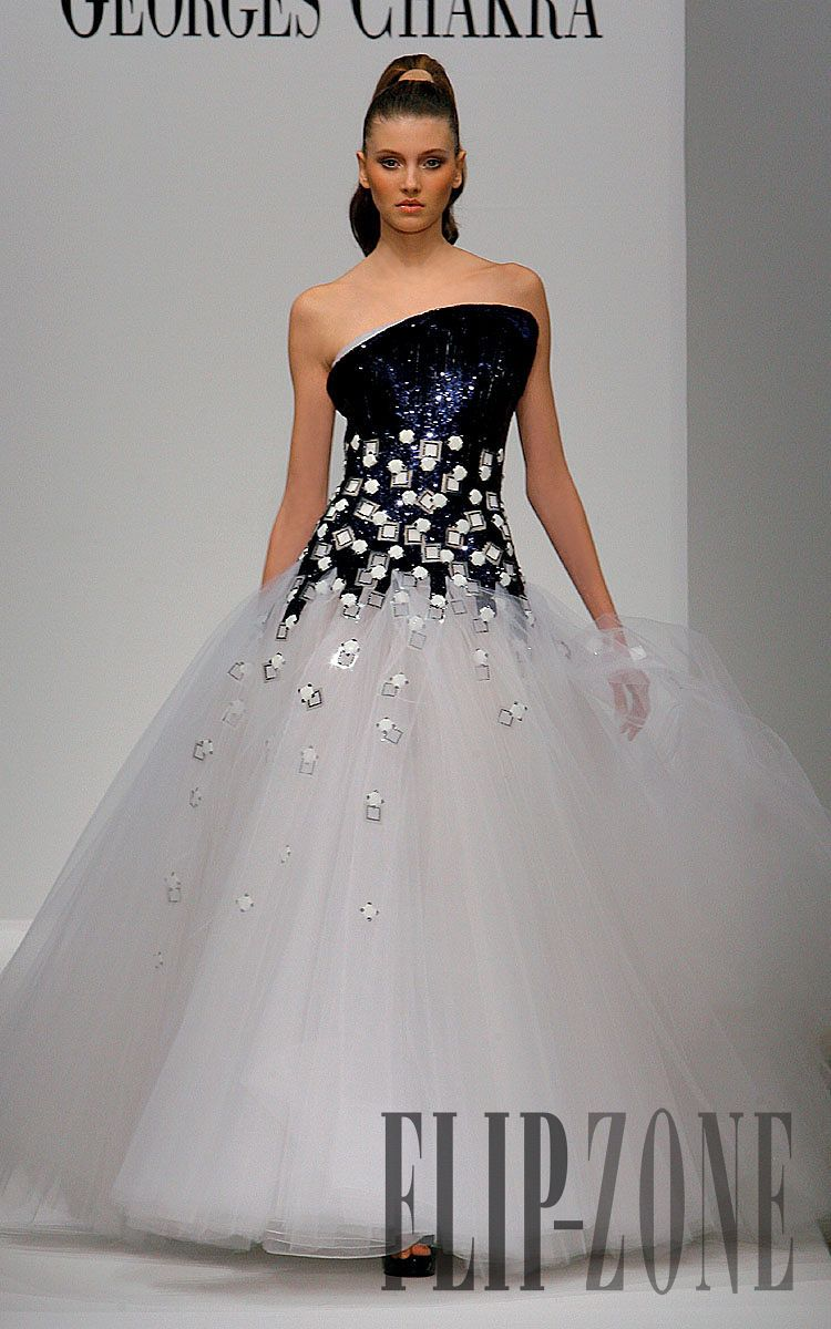 Wedding dress with black shoes  Georges Chakra  Couture  Springsummer   flipzone