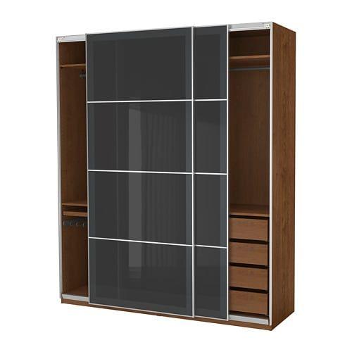 PAX Armoire-penderie, effet frêne teinté brun, Uggdal verre gris - Armoire Ikea Porte Coulissante