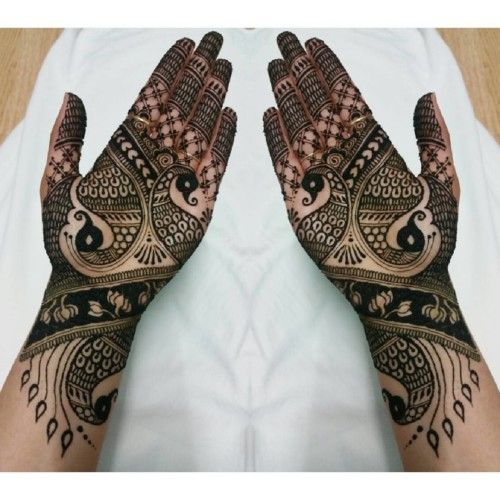 Mehndi For Front Hand Easy : Simple mehendi design with peacocks front hand