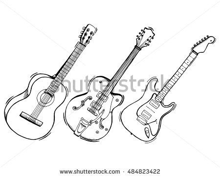 Collection Of Stylized Guitar Set Of Musical Instruments Electric