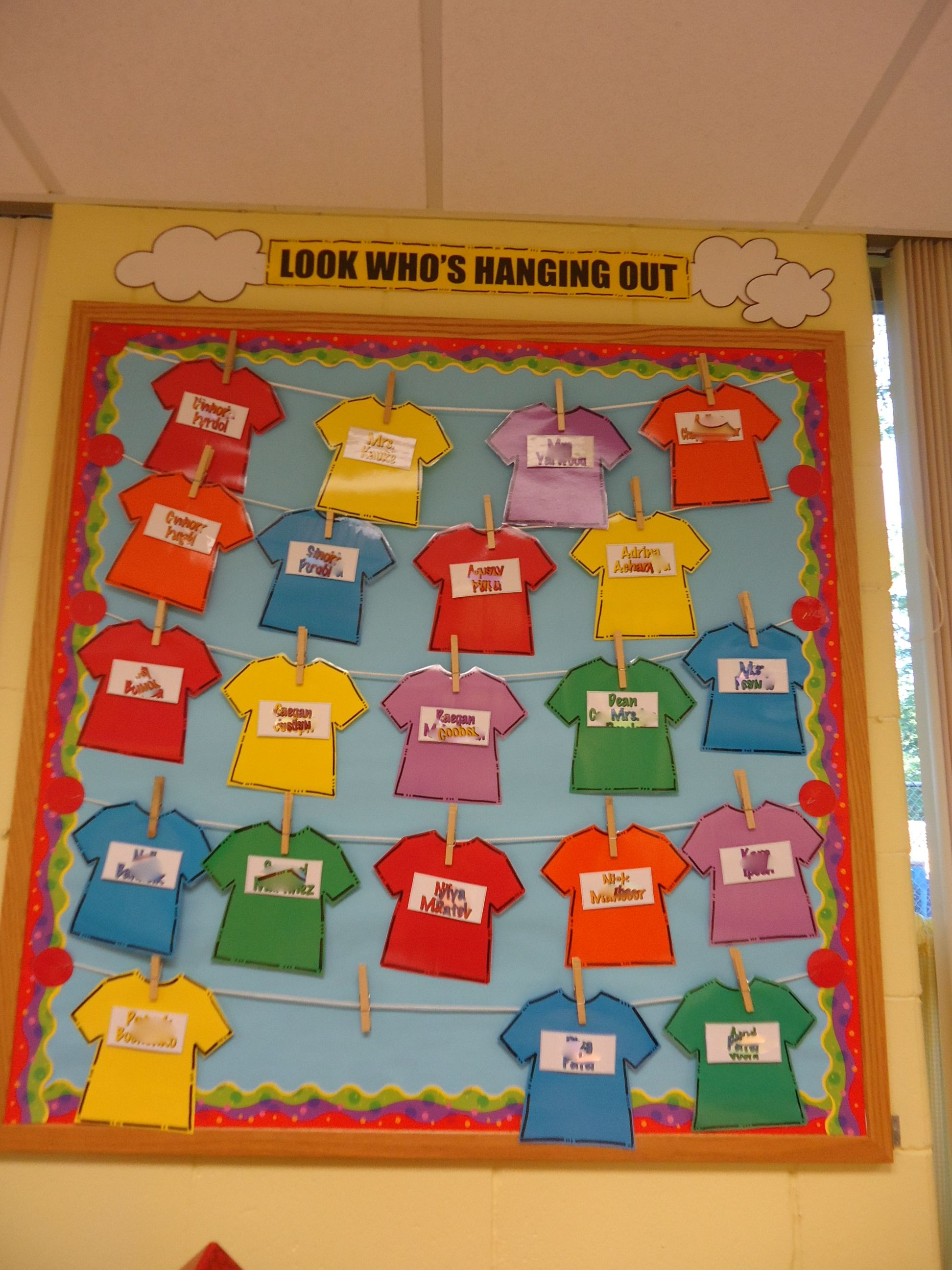 Look Who 39 S Hanging Out Class Names Bulletin Board Fun Colorful And Can Be Kept Up All Year
