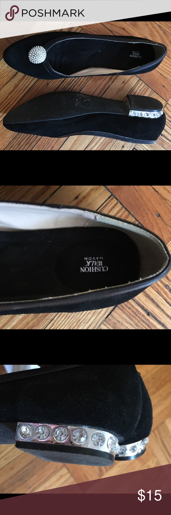 Avon Cushion Walk crystal flats! Gorgeous suede crystal flats! One crystal in heel missing on interior not visible. Size 11. Used once indoors. Please message with any questions :) Avon Shoes Flats & Loafers