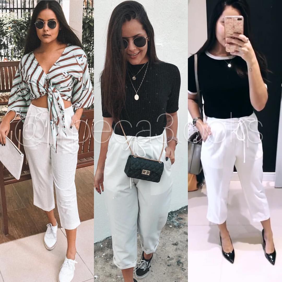 A versatilidade da calça branca nos permite compor looks