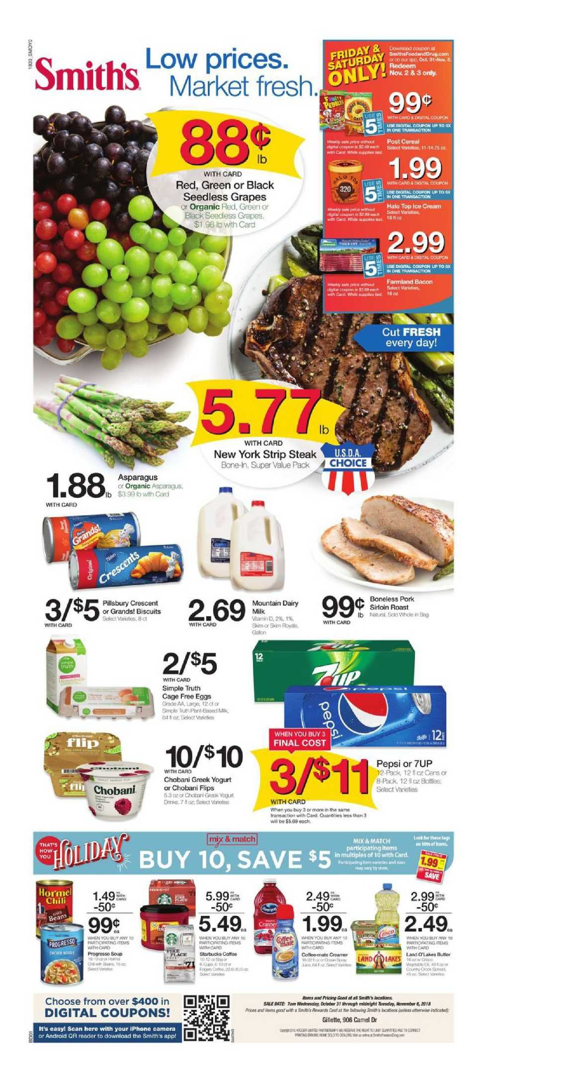 Week Period October 31 November 6 2018 Customer Will Find Digital Coupons Smiths Weekly Specials Recipe Bakery Menu Prices Grocery Savings