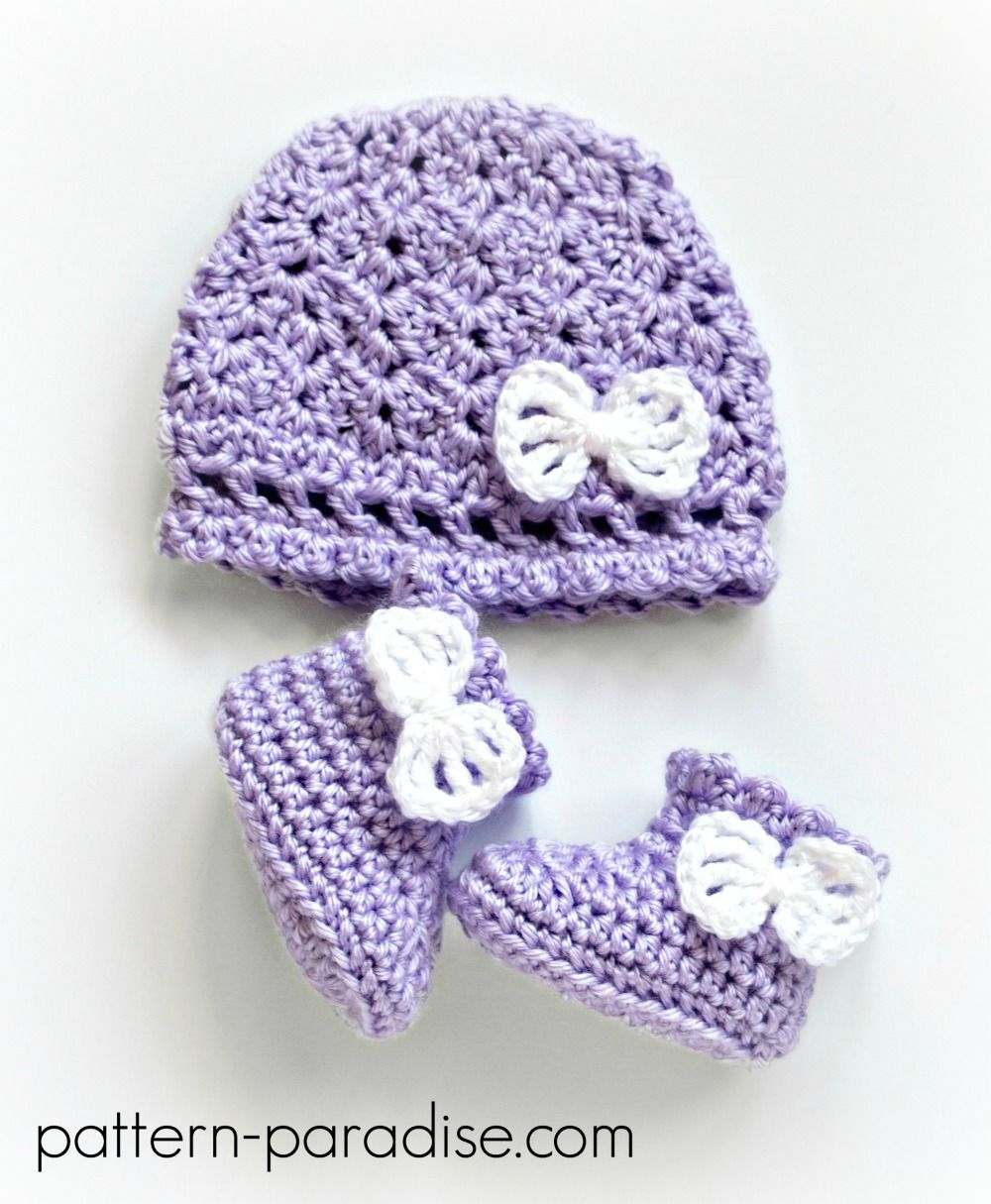 Crochet Pattern: Georgie Hat and Booties Set   Mochilas y Ganchillo