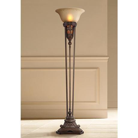 Fleur De Lis Champagne Glass And Bronze Torchiere Floor Lamp T3887 Lamps Plus Torchiere Floor Lamp Lamp Night Light Bulbs