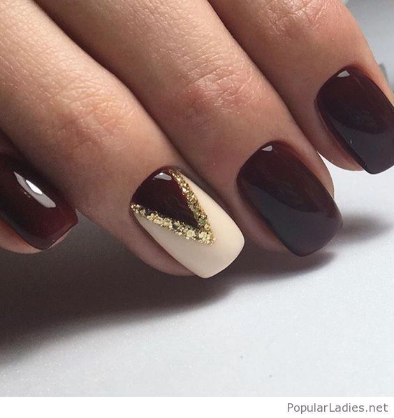 Burgundy And White Gel Nails With Gold Glitter Detail Ring Finger Nails Nail Designs Gel Nails