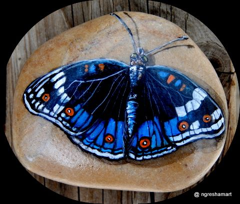 Hand Painted Rock,blue Butterfly,yard Decor,garden Decor