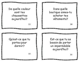 24 Clothing Conversation Cards in French & Assessment