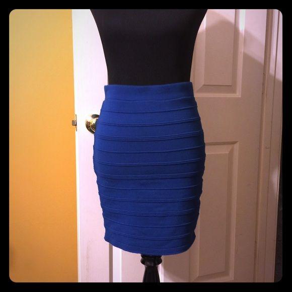 Blue stretch skirt Rayon, spandex, polyester stretch blue skirt Forever 21 Skirts Midi