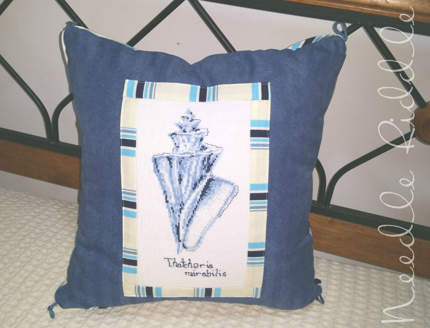 Decorative Couch Pillow, Throw Cushion, Sea Shell Design, Hand Embroidery,  Beach House Decor, Blue Stripes, Blue Pillow, Nautical Style