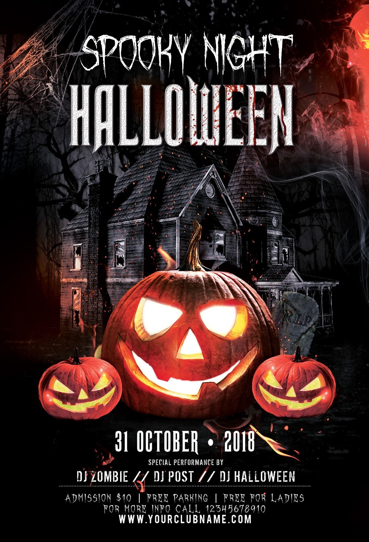 Spooky Night Halloween 20182019PSD Flyer Template