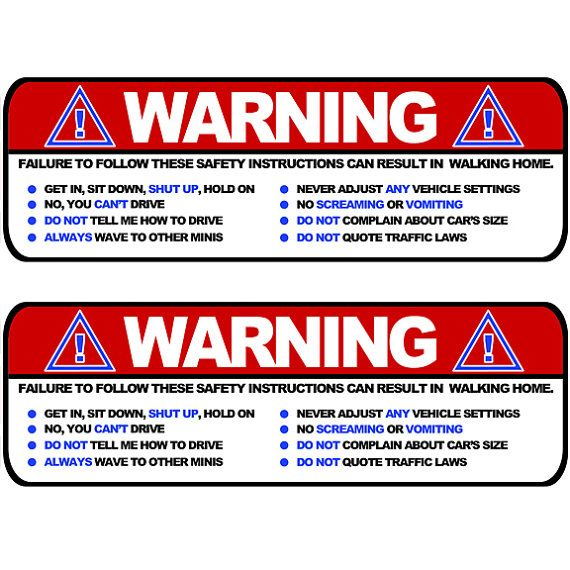 Visor Stickers Set Large Funny Safety Instructions For Mini