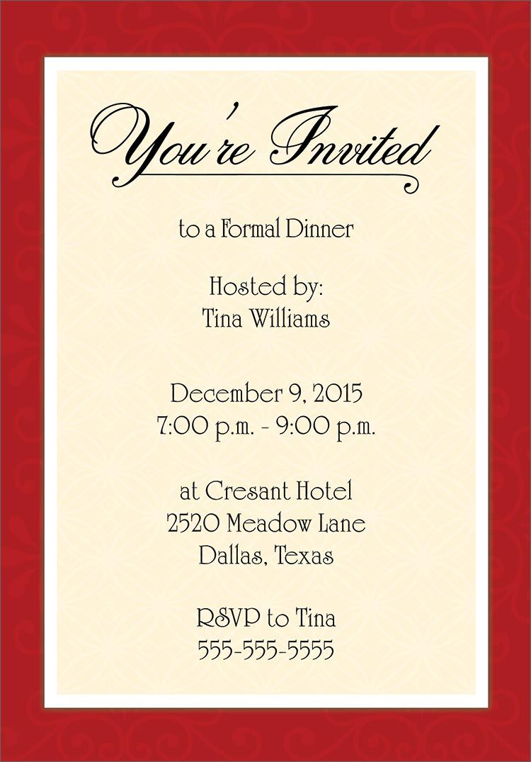 Dinner Invitation Template Free Birthday Dinner Invitation