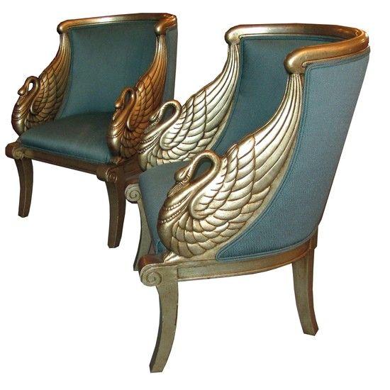 Superbe Pair American Art Deco Neoclassical Silver Leaf Swan Arm Chairs