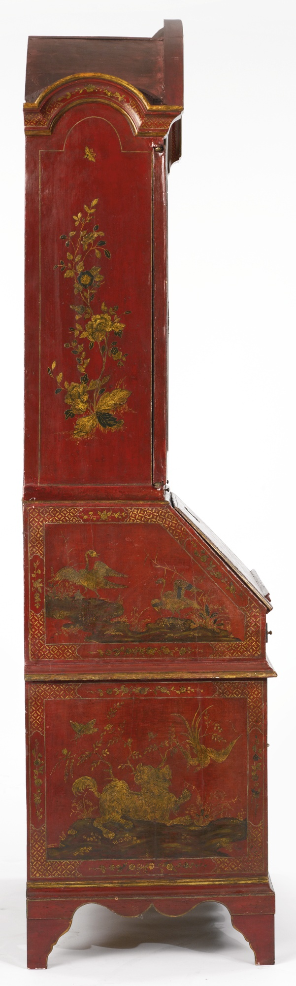 A George Ii Red Japanned Desk And Bookcase Lot Beautiful Furniture Annie Sloan Chalk Paint Antiques