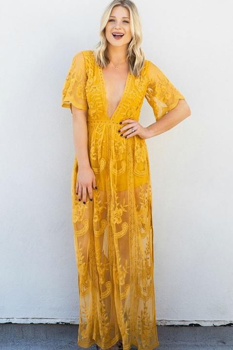 1531b38c34d Gemma Mustard Lace Maxi Dress