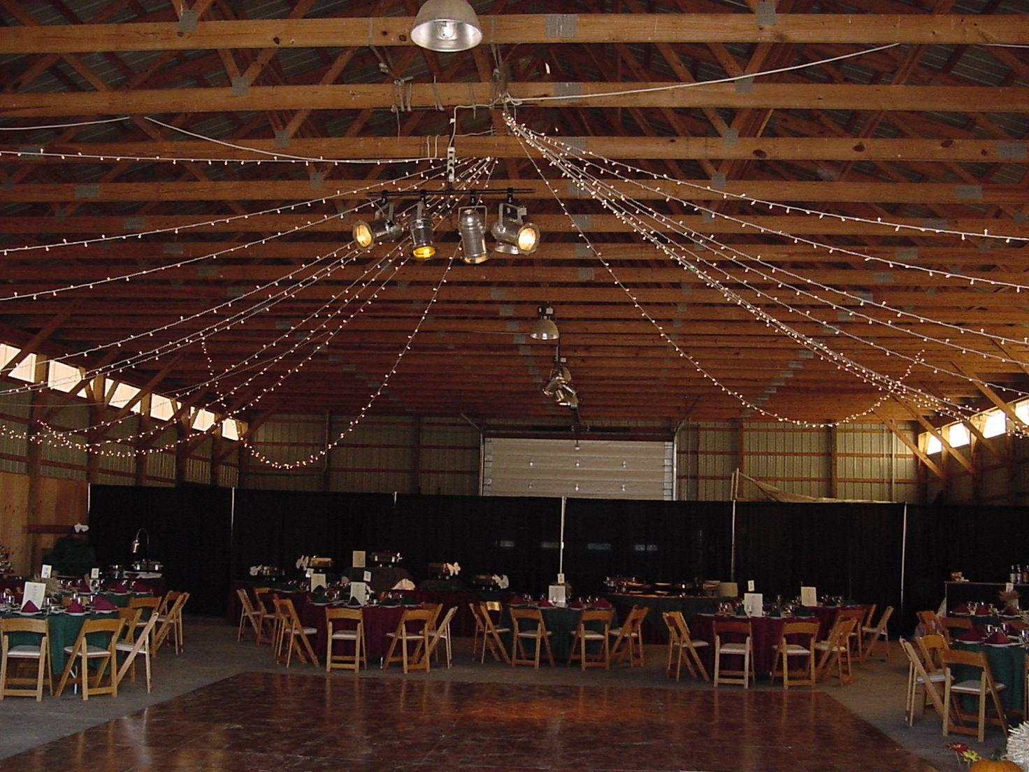 Pole Barn Wedding... lights on ceiling? | ♥ Wedding ♥ | Pinterest ...