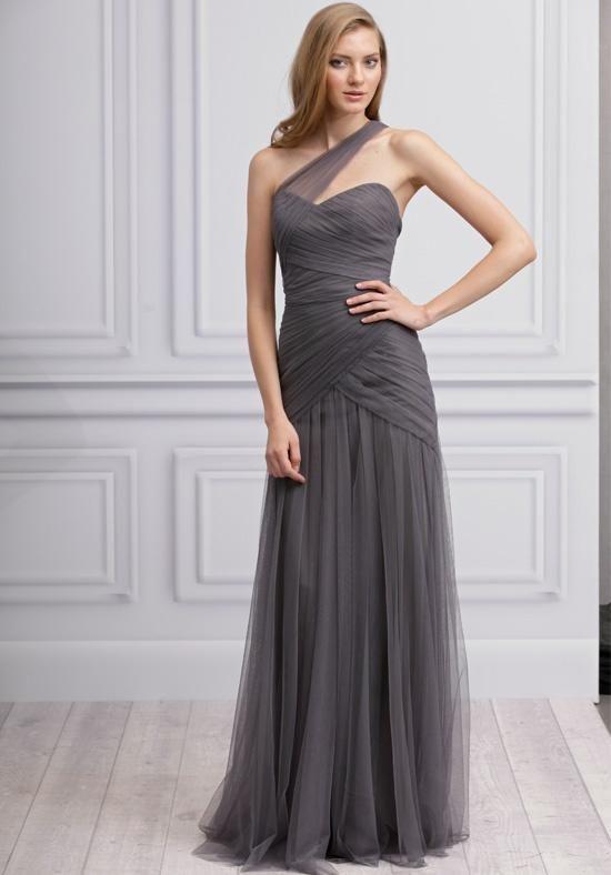 Slate One-Shoulder Tulle Gown with Asymmetric Drape | Monique ...